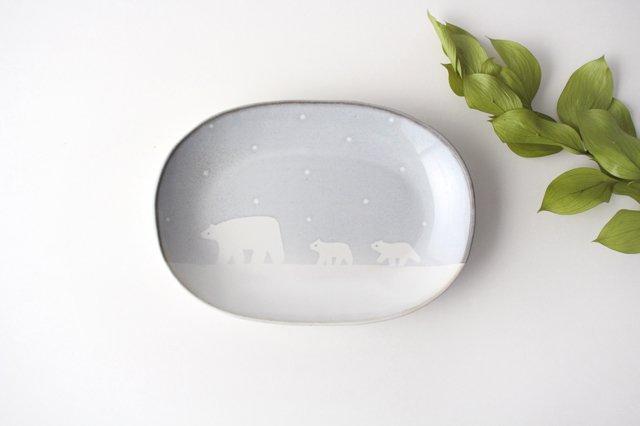 しろくまの楕円皿 陶器 ITOGA POTTERY
