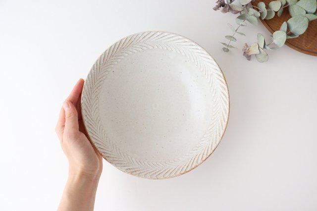 リース7寸鉢 ホワイト 陶器 アトリエキウト 小出麻紀子 画像2