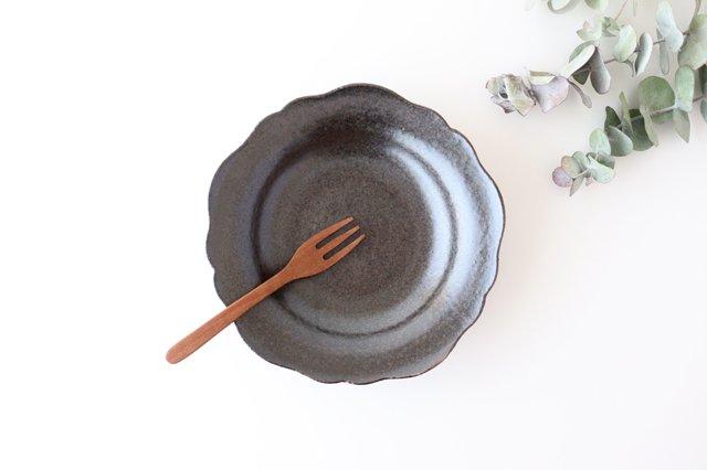 6寸皿 芙蓉 こげ茶 陶器 たくまポタリー