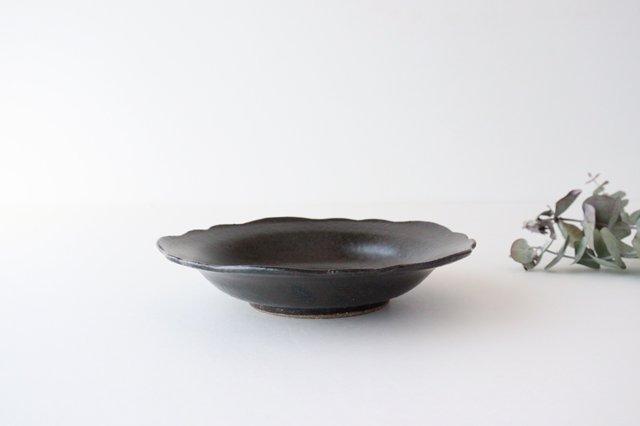 6寸皿 芙蓉 こげ茶 陶器 たくまポタリー 画像2