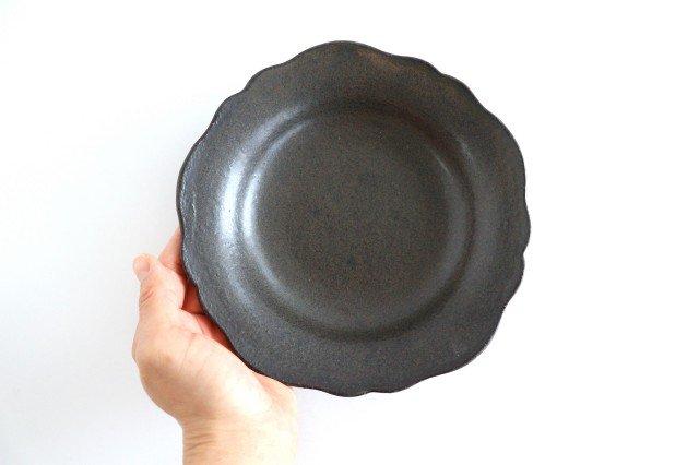 6寸皿 芙蓉 こげ茶 陶器 たくまポタリー 画像4