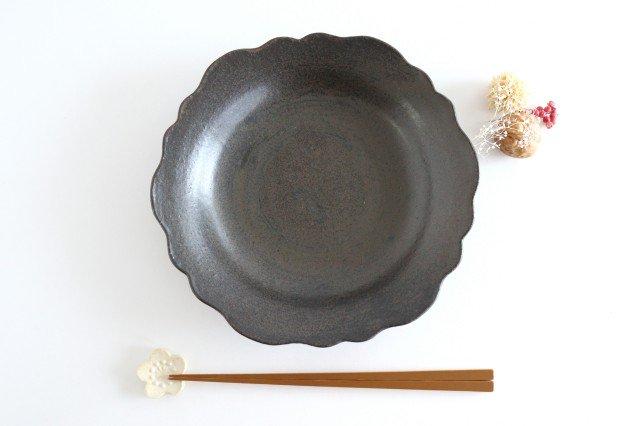 8寸皿 芙蓉 こげ茶 陶器 たくまポタリー 画像6
