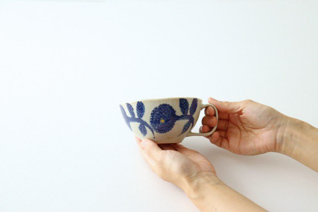スープカップ 青 磁器 ダリア 波佐見焼 画像2
