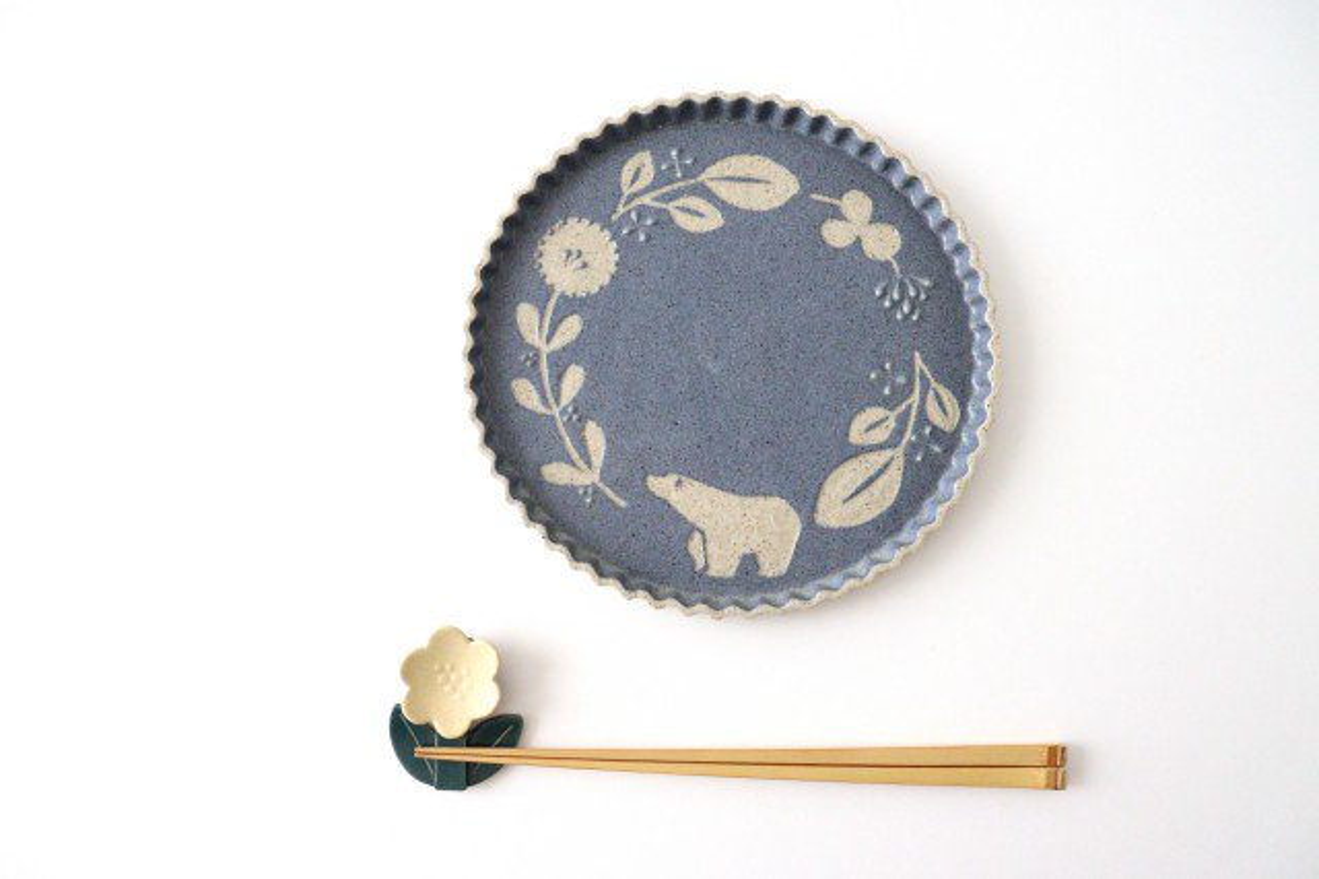 なみなみプレート 中凸 シロクマ 紺 陶器 苔色工房 田中遼馬 画像4