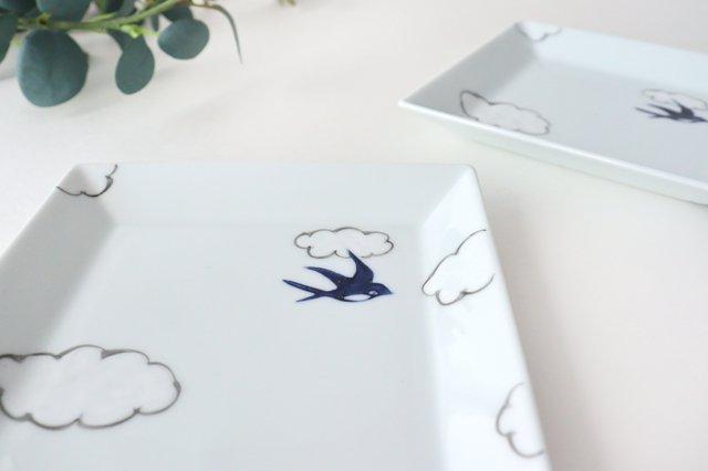 4.5寸正角皿 磁器 雲つばめ 有田焼 画像3