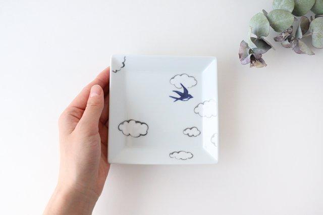 4.5寸正角皿 磁器 雲つばめ 有田焼 画像5