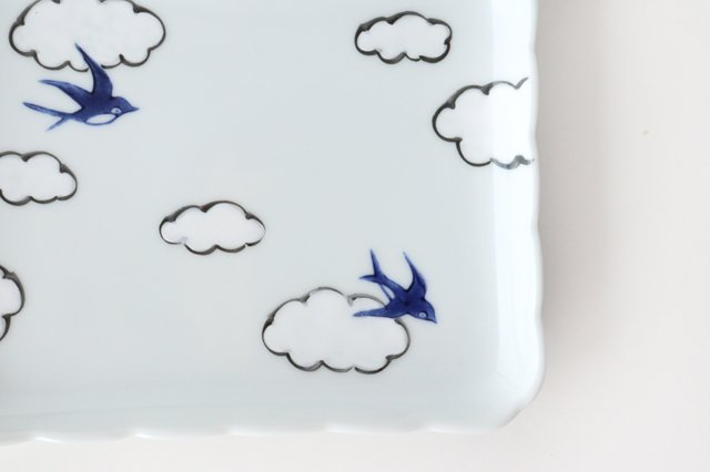 4.5角銘々皿 磁器 雲つばめ 有田焼 画像4