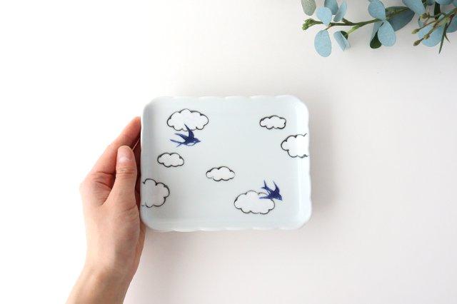 4.5角銘々皿 磁器 雲つばめ 有田焼 画像6
