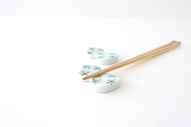 箸置 格子小花 緑 伊万里瓢箪 磁器 有田焼 画像3