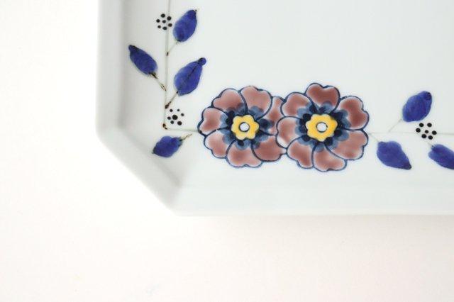 八角長皿 花枝紋 磁器 有田焼 画像3
