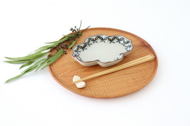 木甲型銘々皿 古染連七宝 磁器 有田焼 画像6
