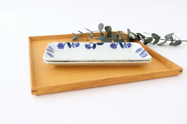 長角皿 呉須葉釉花  青 磁器 波佐見焼 画像4