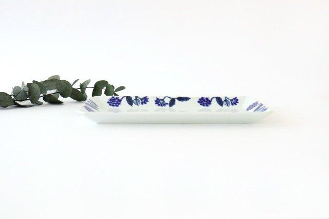 長角皿 呉須葉釉花  青 磁器 波佐見焼 画像5