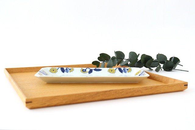 長角皿 呉須葉釉花  黄 磁器 波佐見焼 画像3