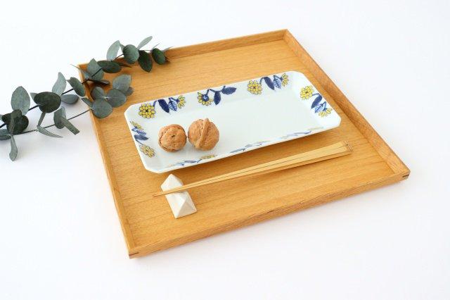 長角皿 呉須葉釉花  黄 磁器 波佐見焼 画像6