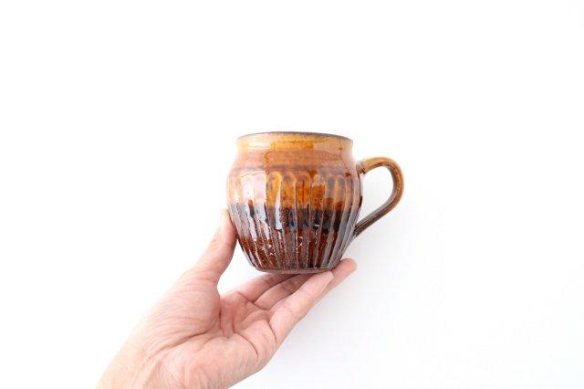 飴釉 しのぎマグ たる型 陶器 古谷製陶所 画像3