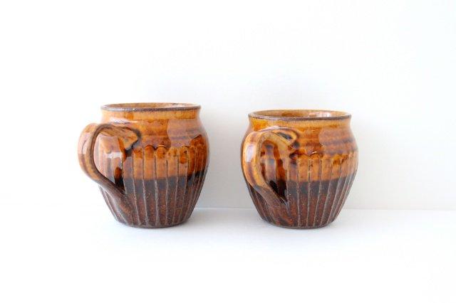 飴釉 しのぎマグ たる型 陶器 古谷製陶所 画像6