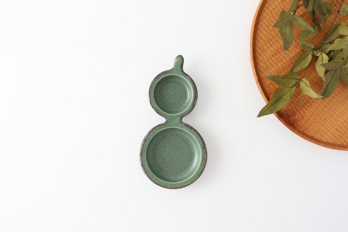 ひょうたん皿 グリーン 磁器 kei 美濃焼 画像2