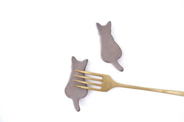 箸置き ネコ 黒 陶器 美濃焼