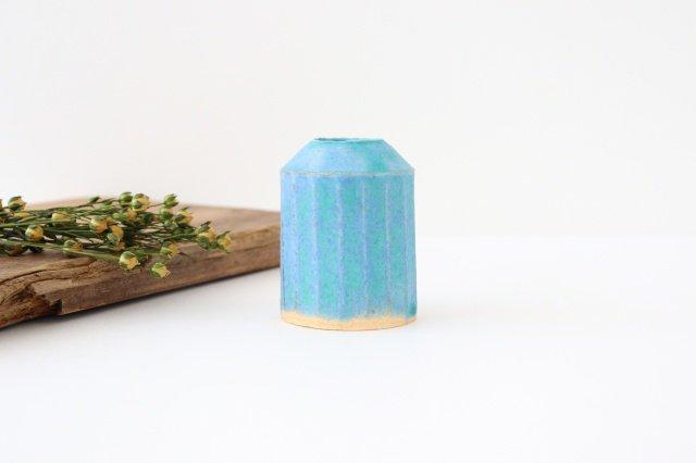 フラワーベース えんぴつ型 ブルー 陶器 小川綾