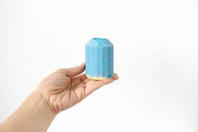 フラワーベース えんぴつ型 ブルー 陶器 小川綾 画像2