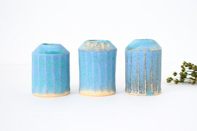 フラワーベース えんぴつ型 ブルー 陶器 小川綾 画像5