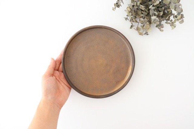 リムなし皿 5寸 黒 陶器 酒井陶太 画像2