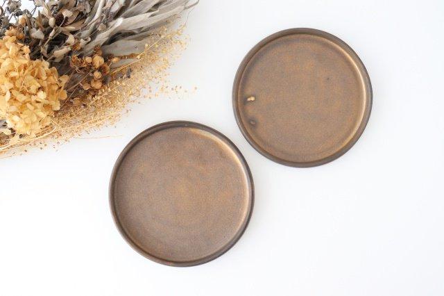 リムなし皿 5寸 黒 陶器 酒井陶太 画像3