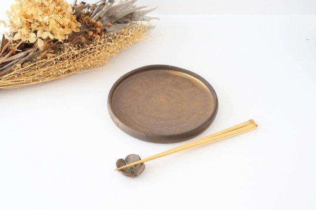 リムなし皿 5寸 黒 陶器 酒井陶太 画像6