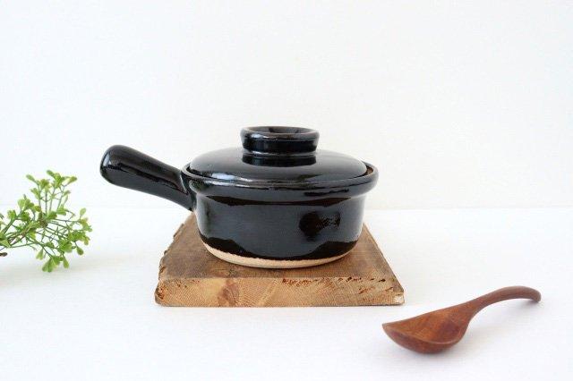 耐熱片手雑炊鍋 黒 耐熱陶器 伊賀焼