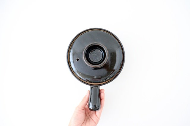 耐熱片手雑炊鍋 黒 耐熱陶器 伊賀焼 画像4