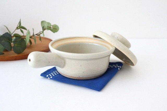 耐熱片手雑炊鍋 白 耐熱陶器 伊賀焼