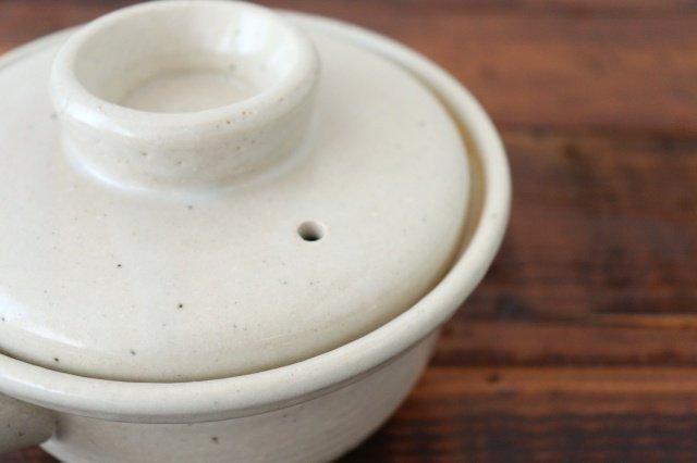 耐熱片手雑炊鍋 白 耐熱陶器 伊賀焼 画像4