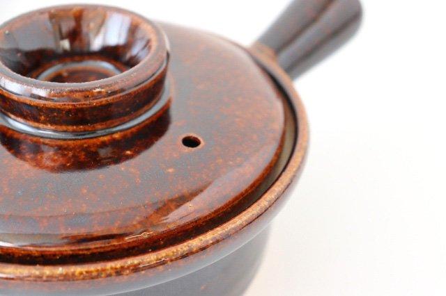 耐熱片手雑炊鍋 茶 耐熱陶器 伊賀焼 画像2