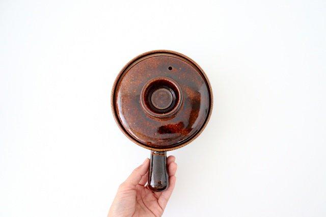耐熱片手雑炊鍋 茶 耐熱陶器 伊賀焼 画像4