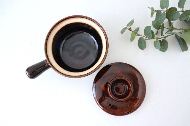 耐熱片手雑炊鍋 茶 耐熱陶器 伊賀焼 画像5