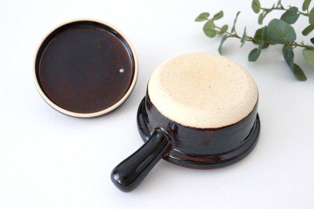 耐熱片手雑炊鍋 茶 耐熱陶器 伊賀焼 画像6