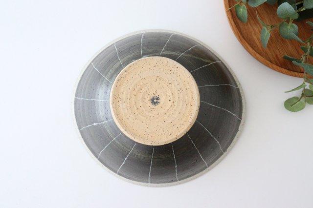 深鉢 ストライプ 黒 陶器 信楽焼 画像3
