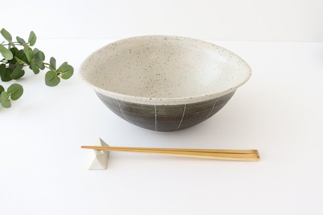 深鉢 ストライプ 黒 陶器 信楽焼 画像5