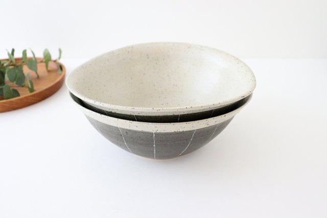 深鉢 ストライプ 黒 陶器 信楽焼 画像6