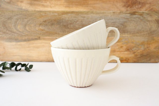 スープカップ 鎬 粉引 陶器 信楽焼 画像6