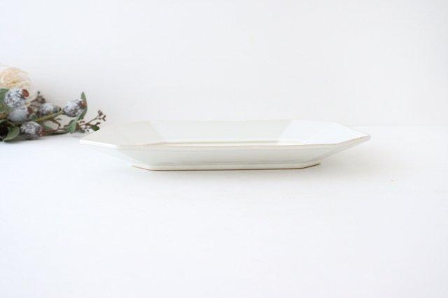 八角プレート L 白 陶器 光泉窯 萬古焼 画像2