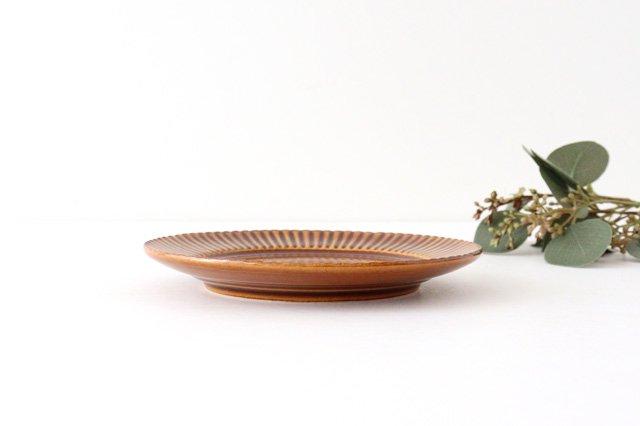 レリーフソーサー 茶 陶器 光泉窯 萬古焼 画像3