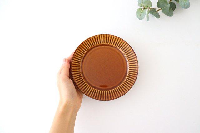 レリーフソーサー 茶 陶器 光泉窯 萬古焼 画像6
