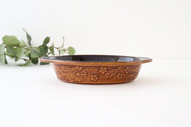 耐熱グラタン皿 マーガレット 茶 耐熱陶器 光泉窯 萬古焼