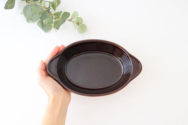 耐熱グラタン皿 マーガレット 茶 耐熱陶器 光泉窯 萬古焼 画像3