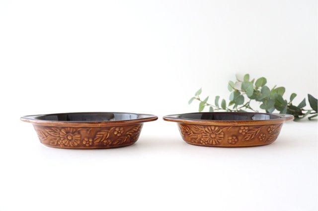 耐熱グラタン皿 マーガレット 茶 耐熱陶器 光泉窯 萬古焼 画像4