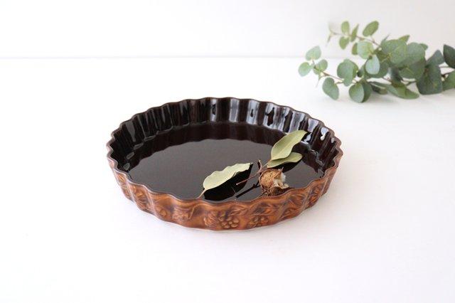 キッシュ皿 大 マーガレット 茶 耐熱陶器 光泉窯 萬古焼