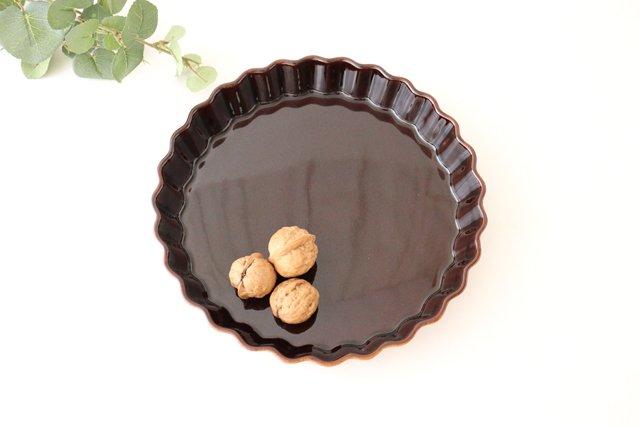 キッシュ皿 大 マーガレット 茶 耐熱陶器 光泉窯 萬古焼 画像2