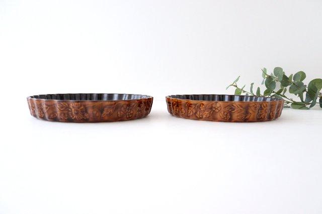 キッシュ皿 大 マーガレット 茶 耐熱陶器 光泉窯 萬古焼 画像3